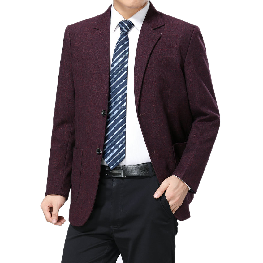 Chinese Man Smart Casual Blazer Wine Red Navy Blue Tailored Jacket Suit For Men Business Garment Mens Plain Blazers Suit Jacket