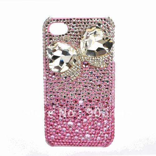 Free Shipping Handmade Gradual Change Pink Crystal Rhinestone And Crystal Bow Cell Phone Case Cover For iPhone4/4s/5_1PCS