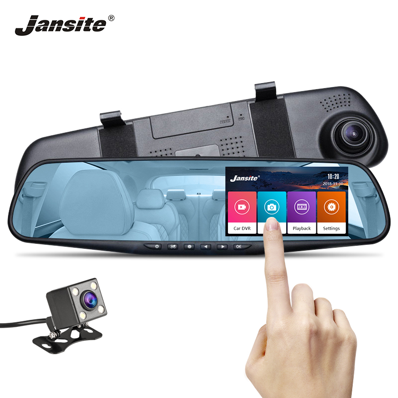 Jansite Car DVR Dual Lens Touch Screen FHD Camera Video Recorder Rearview Mirror With Rear view Dashcam Auto Registrator