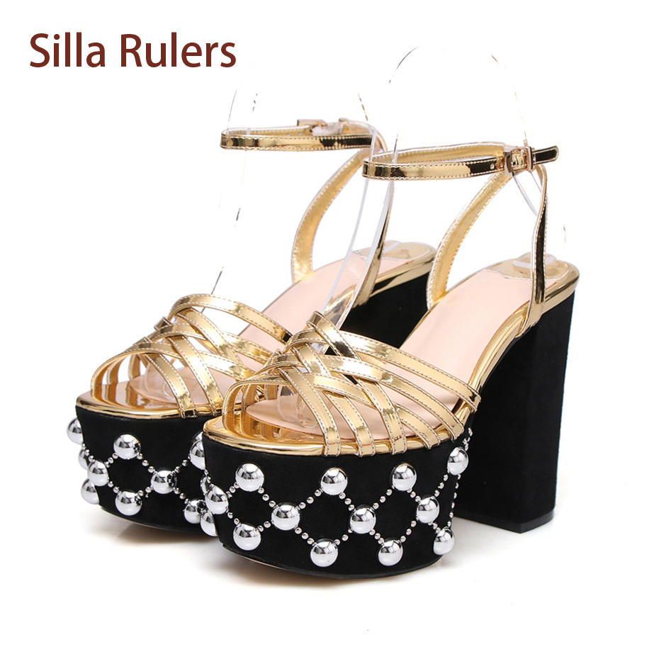 Silla Rulers Genuine Leather Rivet Decor Peep Toe Women Sandals Chunky Super High Heel Increased Platform Fashion Runway Shoes 2017 superstar cow leather platform european ankle strap peep toe print mixed colors classic women increased runway sandals 0 4
