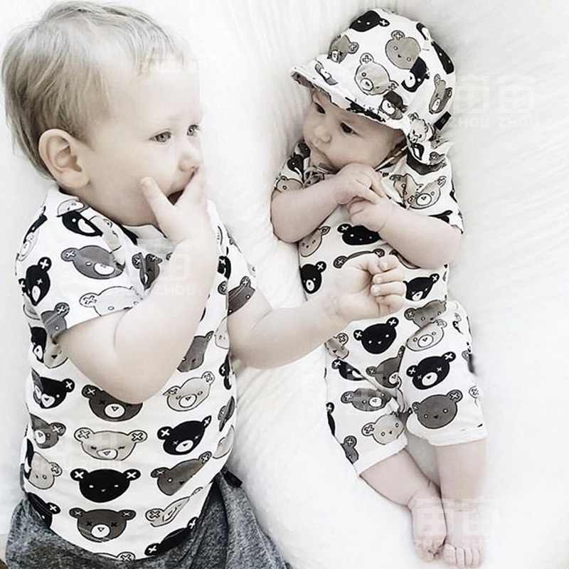 Комбинезон для новорожденного мальчика для девочки, повседневный комбинезон с коротким рукавом и изображением животных из мультфильма, милые детские наряды, Детский костюм для новорожденных 0-18 месяцев