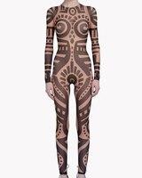 Summer Women VintageTribal Tattoo Print Mesh Jumpsuit Curvy African Runway Sheer Bodysuit Celebrity Jumpsuit Catsuit