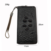 Long Simple Purse Men Wallet Genuine Leather Solid Wallets