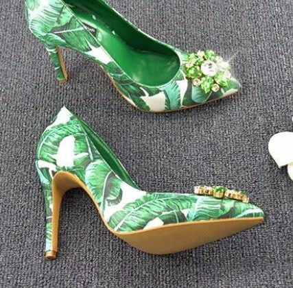 Real Picture!Elegant Women Shallow Slip-On Crystal Flower Decoration Pointed Toe Fashion New Arrival Shoes Gladiator Dress Pumps flower collection colorful embellished floral print buckle women pumps gladiator 3d flower shoes elegant ladies led shoes