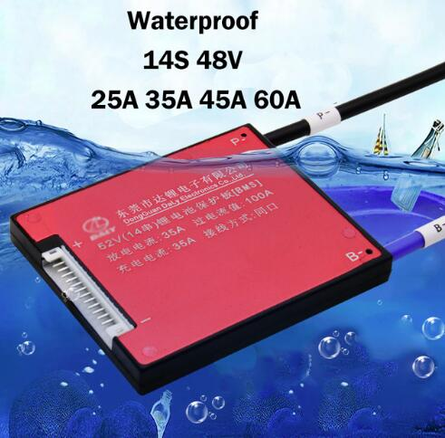 Waterproof 14S 48V 25A 35A 45A 60A Electric Vehicle Lithium Battery Protection Board BMS With Balance Li-ion Lipo 18650 Polymer