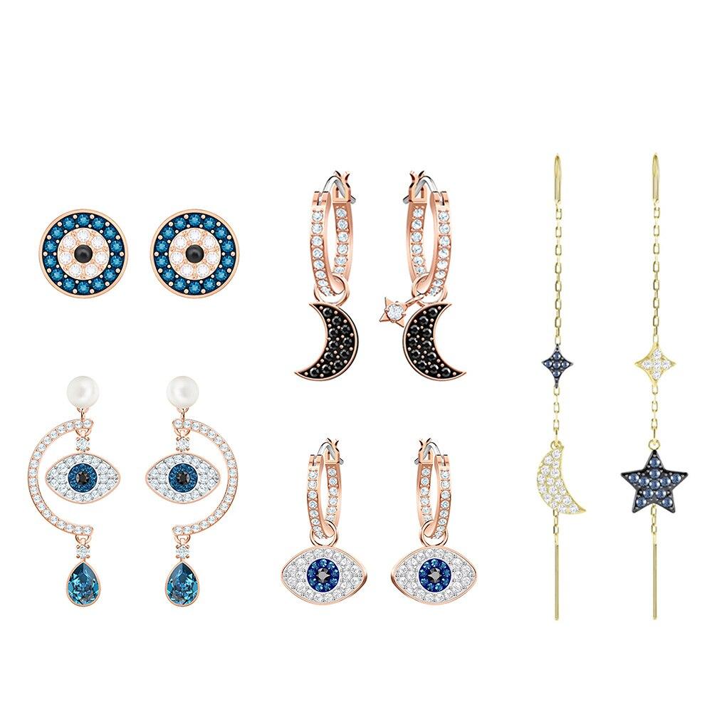 Wedding-Toy Pierced Borough Gold Pink Hoop Fashion Swa Long Charm-Present Shown Due Devil's-Eye-Moon