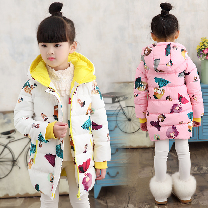 Little Girl New 2018 Winter Warm Long Cartoon Jacket Coats For Girls Kids School Down Cotton-padded Coat Christmas Clothing new pattern winter jacket men cotton padded loose coat long down thickening cotton oversize parka casual warm outwear