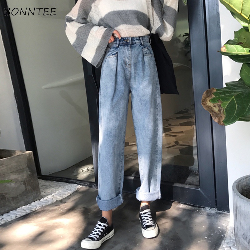 Jeans Women High Waist Ankle-length Button Zipper Fly Pockets Denim Vintage Solid Harajuku Womens Korean Style All-match Female