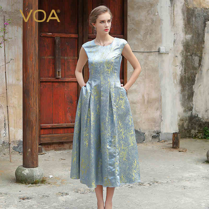VOA Women Silk Jacquard Long Dress Plus Size 5XL Office Dresses Vintage Chinese Silver Grey Summer Short Sleeve vestidos A7751