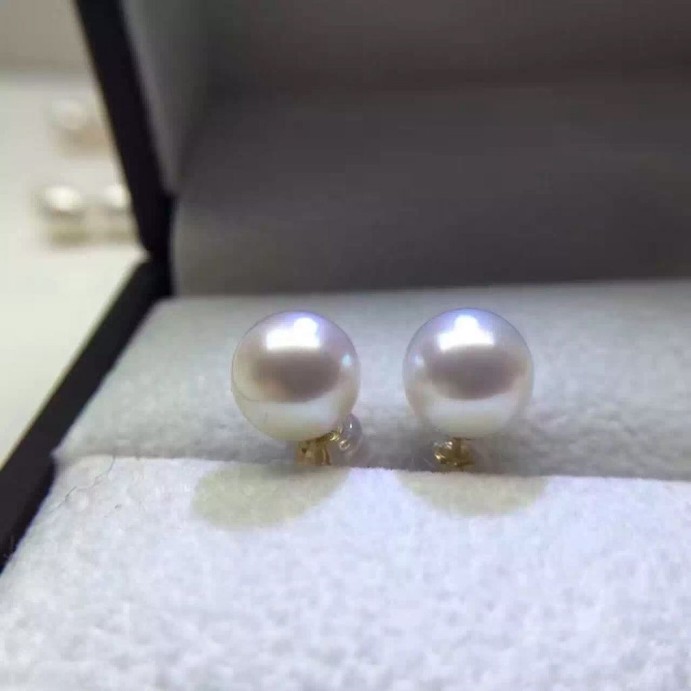 charming pair AAAAA round 9-10mm south sea white pearl earring цена и фото