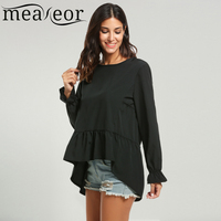 Meaneor Women Long Sleeve Solid Ruffles High Low Hem Loose Blouse Tops
