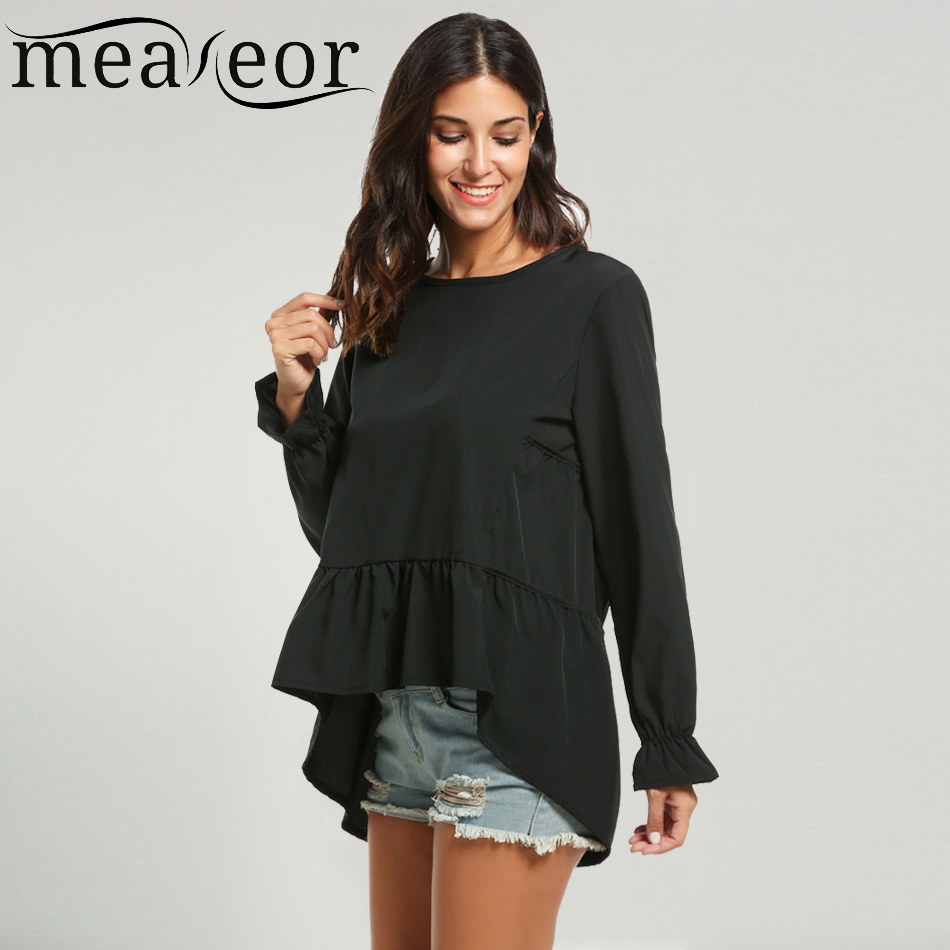 Meaneor Ruffles Hem Blouses Shirts Women s Autumn Casual Blouse Long Sleeve Solid High Low Hem