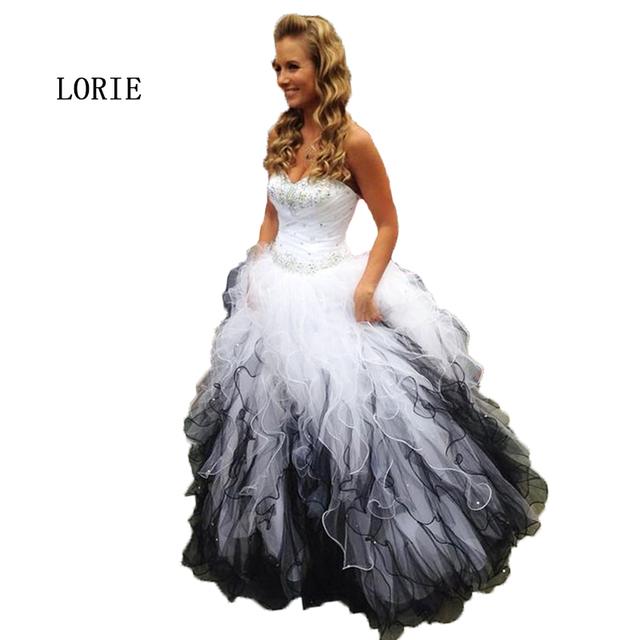Vestido de fiesta de Graduación del vestido de Bola Con Cuentas Piedras Partido Vestido de Novia de Volantes de Organza Blanco y Negro vestido de fiesta