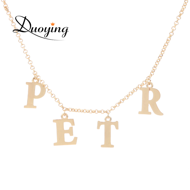 a451073475 DUOYING Initial Name Necklace Personlized Customized Name Letter Pendant  Charms Jewelry Necklace Dainty Bridesmaid Gift for Etsy