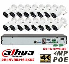 Dahua original 16CH 4MP H2.64 DHI-IPC-HFW1420S 16pcs bullet Waterproof camera POE DAHUA DHI-NVR5216-4KS2 IP security camera kit