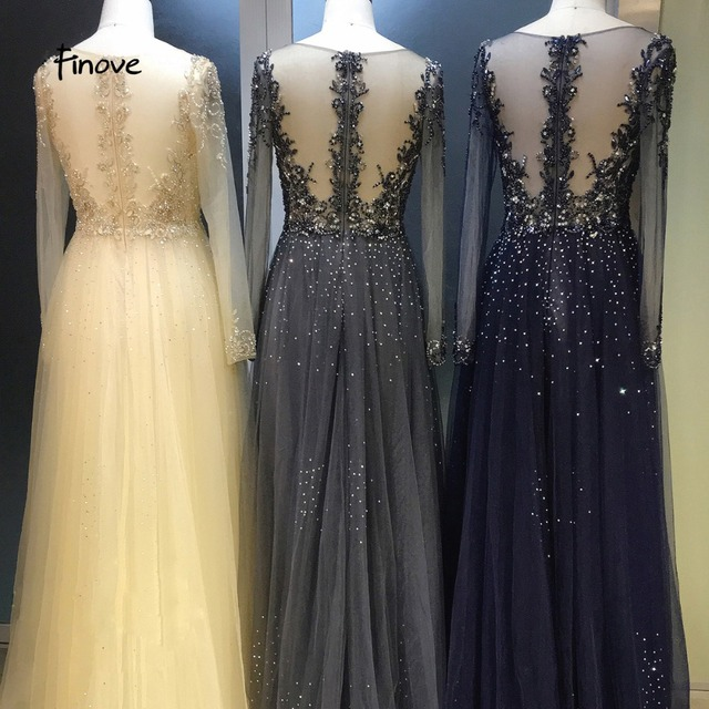 Finove Evening Dress Long Robe de soiree Sexy V Neck Empire Line Illusion Tulle Fully Beaded Floor Length Woman Dress