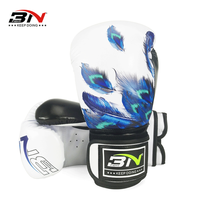BN 10/12OZ Feather Printed MMA Sparring Muay Thai Boxing Gloves Women Men Martial Arts Sanda Mitts Combat Gear DCO