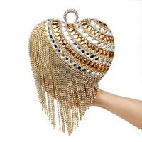 Heart Shaped Tassel Women Messenger Bags Finger Ring Diamonds Small Purse Day Clutches Handbgas For Party