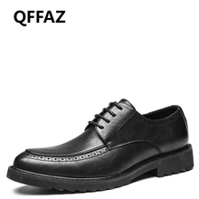 QFFAZ New Genuine leather high quality Lace up men shoes Cool Leisure Spring/Autumn oxfords hot sales fashion Big Size 38-46