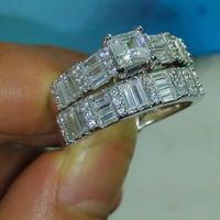 Size 6 10 Jewelry 10kt White Gold Filled White Topaz Women Wedding Ring Set Gift