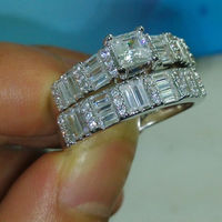 Size 6 10 Jewelry 10kt White Gold Filled White Topaz Women Wedding Ring Set Gift