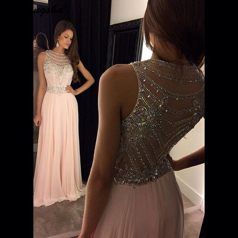 Pink Elegant 2019 Evening   Dresses   Long A-line Scoop Sequins Chiffon Sleeveless Beaded   Prom     Dresses   Soiree Robe