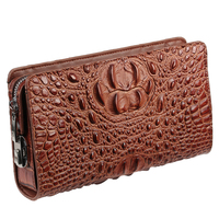 RFID Blocking Genuine Leather Clutch Bag For Men Brand Design Crocodile Men's Phone Holder Bag Zipper Design Male Bags