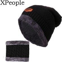 XPople Mens Winter Baggy Slouchy Beanie Hat Trendy Warm Cable Knit Cap Men Women Outdoor Fleece Hat Scarf Set men s winter thick warm cable knit beanie hat 100% handmade cap