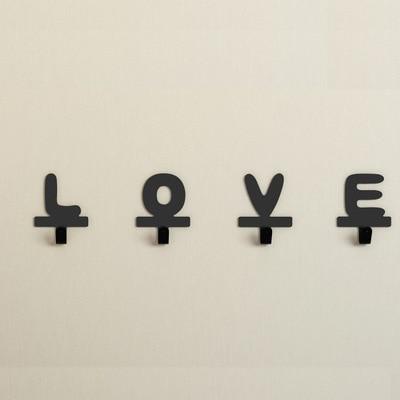 Home LOVE Letter Metal Adhesive Hook, DIY Cloth Hangr Iron Wall Hooks, Key Hanger Simple Steel Metal Hook Letters