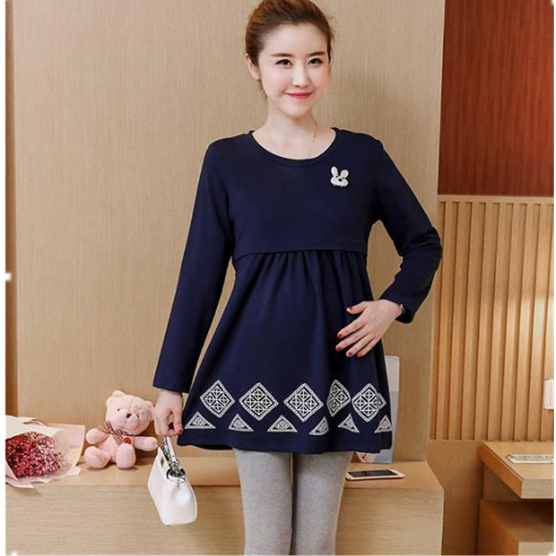 Maternity Nursing Dress for Pregnant Women Autumn Long Sleeve Dresses Pregnancy Breastfeeding Clothes Three Colors B0312