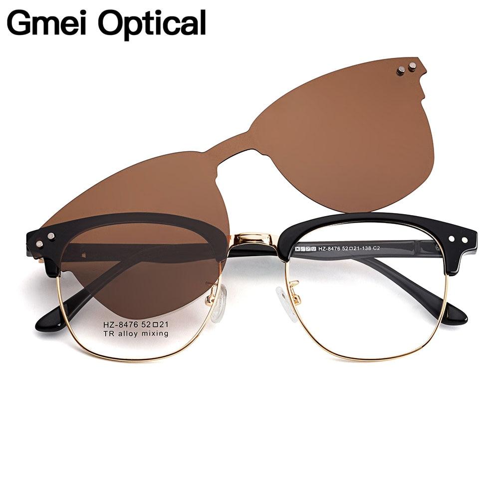 Gmei Optical Retro Men Square Glasses Frame Ultralight Alloy Polarized Clip On Sunglasses Women Optical Eyewear S8476