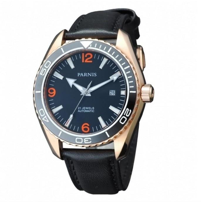 Parnis 45mm mechanical Ceramic Bezel Sapphire Glass Men's Automatic Watch 45mm parnis sapphire glass ceramic bezel luminous automatic men 316l watch