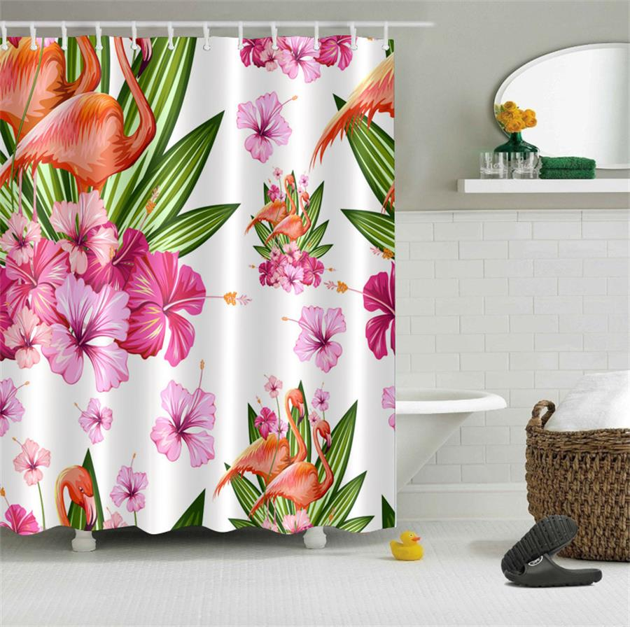 Vintage Tropical Island Flamingos in Flowers Bathroom Shower Curtain Waterproof Polyester & 12 Hooks Bath Accessory Set