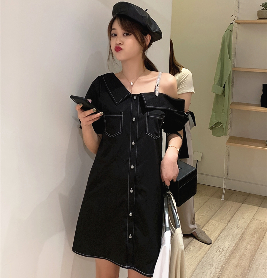 One Shoulder Dress Women Summer 2019 Korean Style Vintage Diamonds Off Shoulder Short Sleeve A Line Dress Black White D237 in Dresses from Women 39 s Clothing