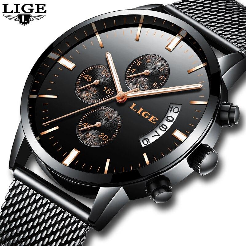 2017 Luxury Brand LIGE casual Watches Men Simple Business Quartz Watch Man Mesh strap Date Fashion Black Clock relogio masculino цена