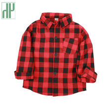 Big Boys shirts 2-12 Years Classic Casual Plaid shirt children red plaid shirt Kids long sleeve teenage girls blouse designs boys roll up sleeve plaid blouse