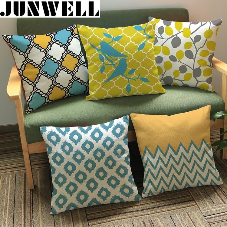 2016 New Heavy Cotton Linen Leaves Printing Cushion Throw Pillow Sofa Office Back Cushion 45x45cm 1pc