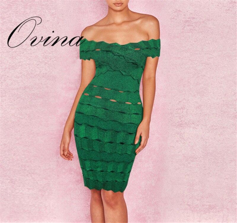 Verde Nuove Donne di Stile Del Vestito Slash Neck Mini HL Celebrità Rayon Bodycon del Vestito Dalla Fasciatura Del Vestito Da Partito