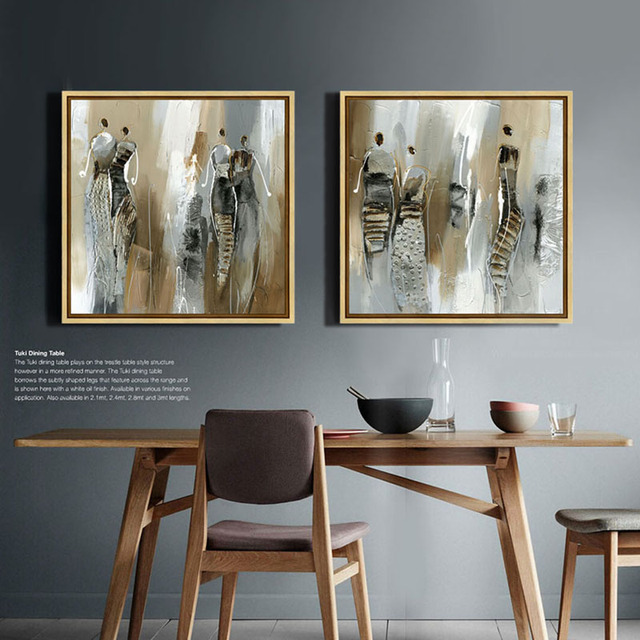 Schilderen canvas prints abstracte moderne Afrikaanse vrouw bruin ...