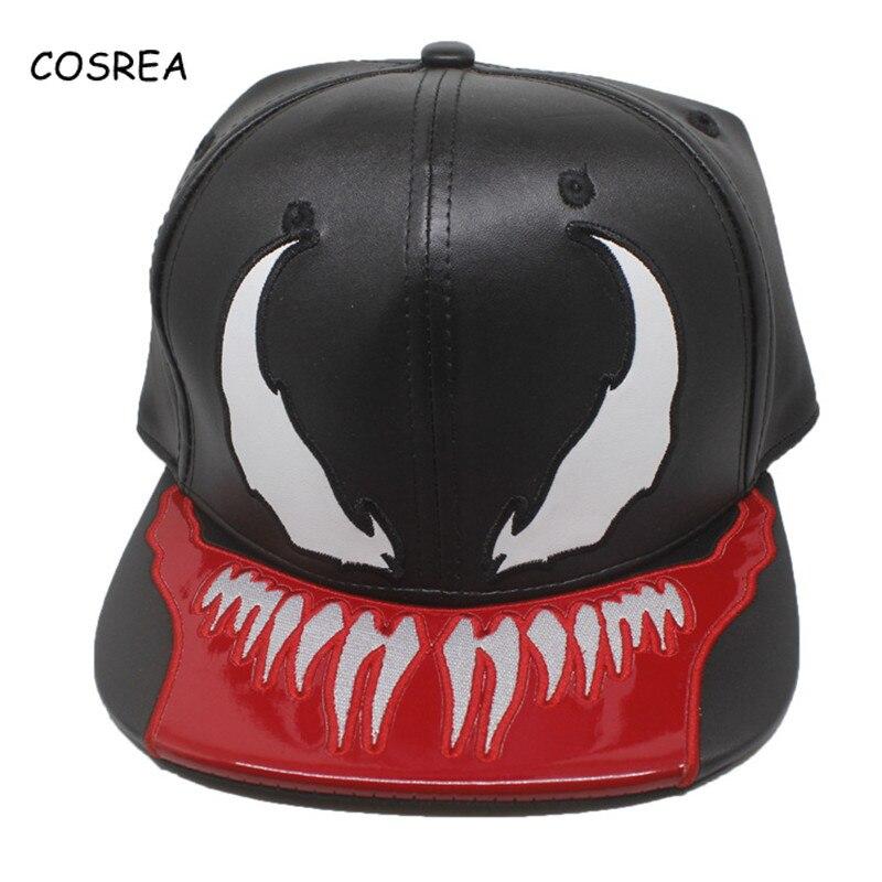 Marvel Venom Top Leather Hat Men Women Sun Hat for Girls Ladies Baseball Running Caps Visor Adjustable Cosplay Costumes