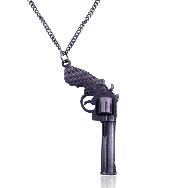 2017 Pop Zinc Alloy Silver Plated Pistol Gun Pendant Necklace Hot Game Pendant For Men's Jewelry