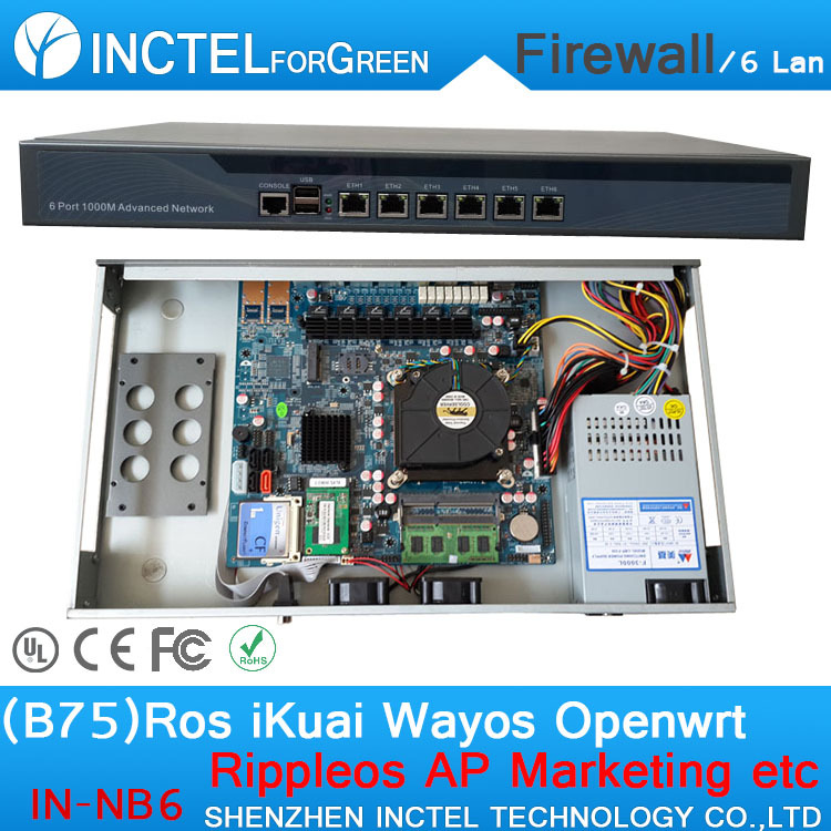 B75 Chipset 6 * 82583v Firewall Appliance Interchangeable CPU Software Router attach the Rack Ears