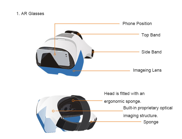 TORTOYO Smart Augmented Reality AR And Virtual Reality Glasses For Private Cinema And Gaming 4.0-5.7 Inch Phone 11
