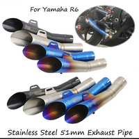 For Yamaha R6 51MM Motorcycle Muffler Exhaust Tail Pipe With Silencer Stainless Steel Motorbike Modified Pipe Escape Slip On