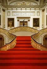 Laeacco Gorgeous Hall Red Carpet Staircase Scene Photography Backdrops Vinyl Photo Custom Backgrounds For Studio