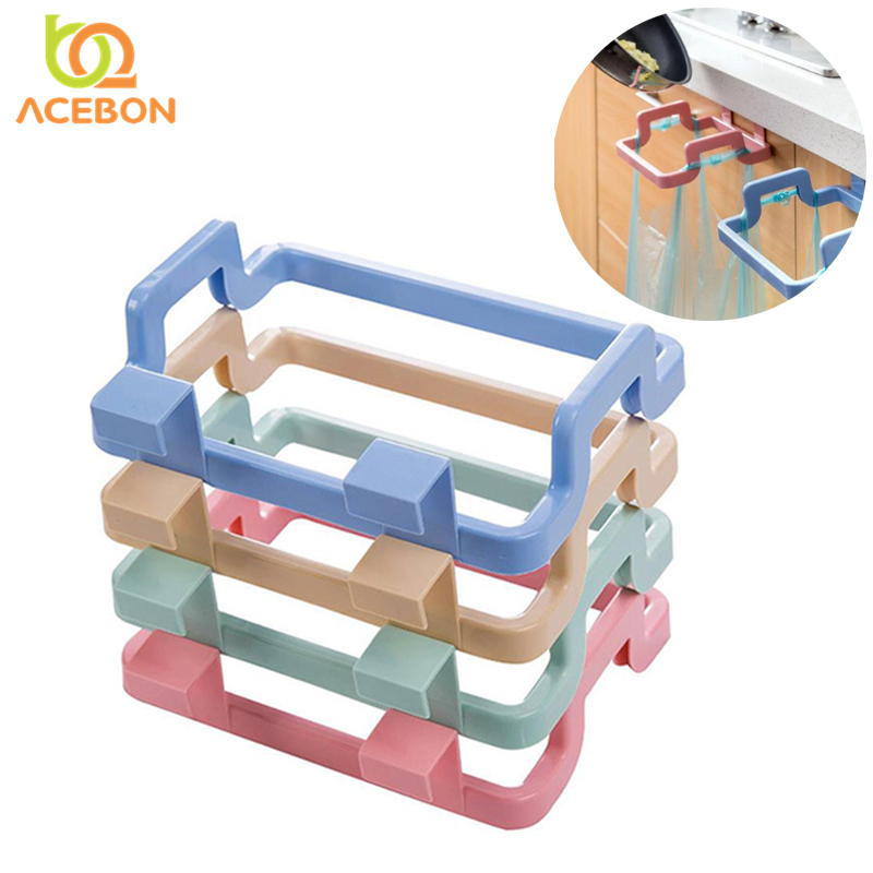 1Pcs Kitchen Gadgets Cabinet Door Garbage Bag Shelf Kitchen Tools Rack Hanging Storage Trash Rack Kitchen Accessories Goods