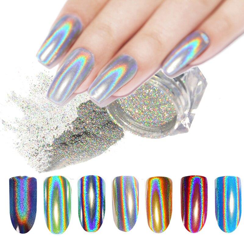 Laser Nail Glitter  Nail Powder Peacock Mirror Powder Rainbow Nail Art Glitter Dust Pigment Chrome Decorations