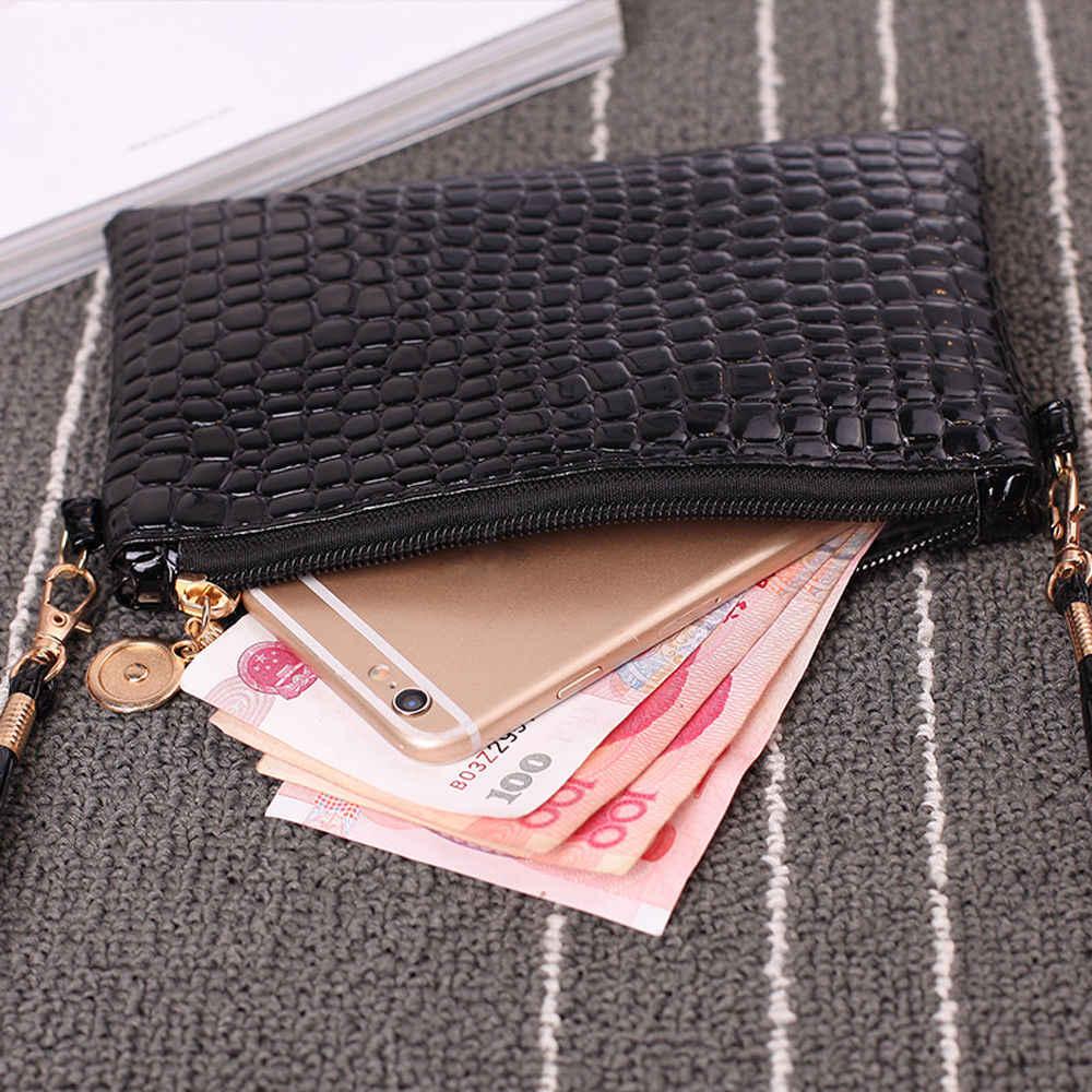 แฟชั่นมินิกระเป๋าหนังไหล่หญิงกระเป๋าแฟชั่นจระเข้ซิปกระเป๋าถือคลัทช์สี