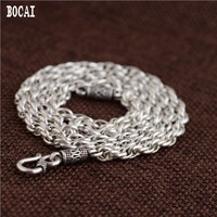 100% authentic 925 sterling silver antique craft men's ring S hook chain Thai silver necklace