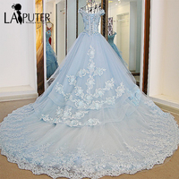 Princess Off the Shoulder Short Sleeves Lace up Back Ball Gown Lace Appliques Crystal Beaded Tulle Light Blue Wedding Dresses